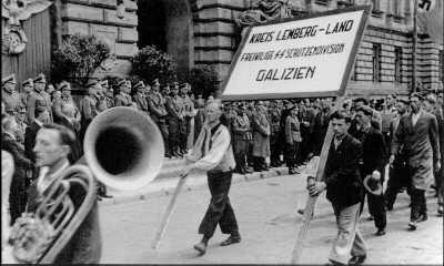 Парад рекрутов в дивизию «Галичина».  Львов, 18 июля 1943 года